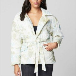 BLANK NYC Perfect Day Belted Puffer Coat Cream NWT